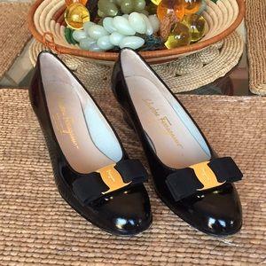 Ferragamo black patent leather shoes